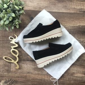 Shoes - Boutique Black Suede Slip On Platforms